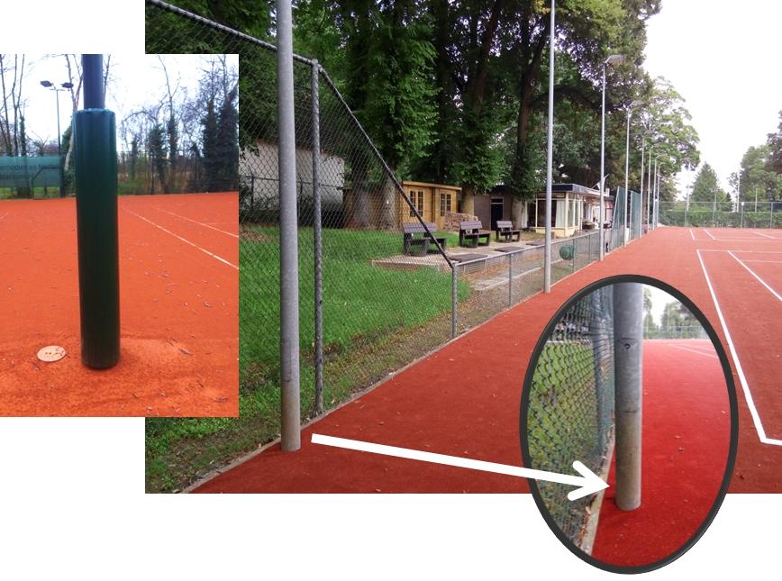 Bescherming van lichtmasten op tennisbanen biedt veiligheid aan tennisspelers